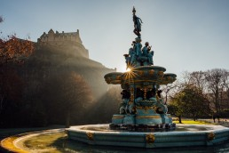 The Ross Fountain and Edinburgh Castle.