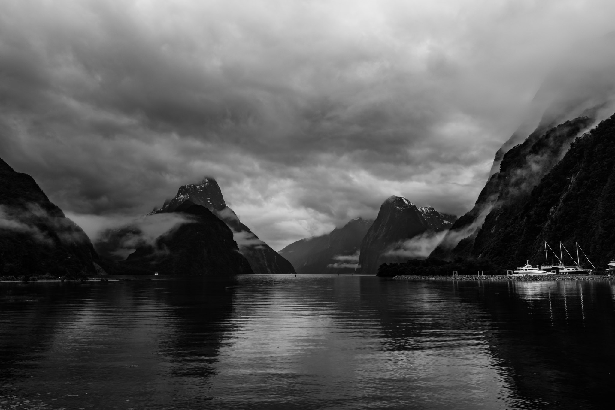 Landscape photo print milford sound black and white nz force media